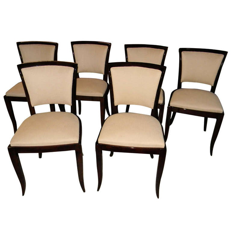 6 Art Deco Dark Rosewood Dining office chairs restored at