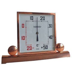Art Deco Copper-Plated Square Thermometer, French