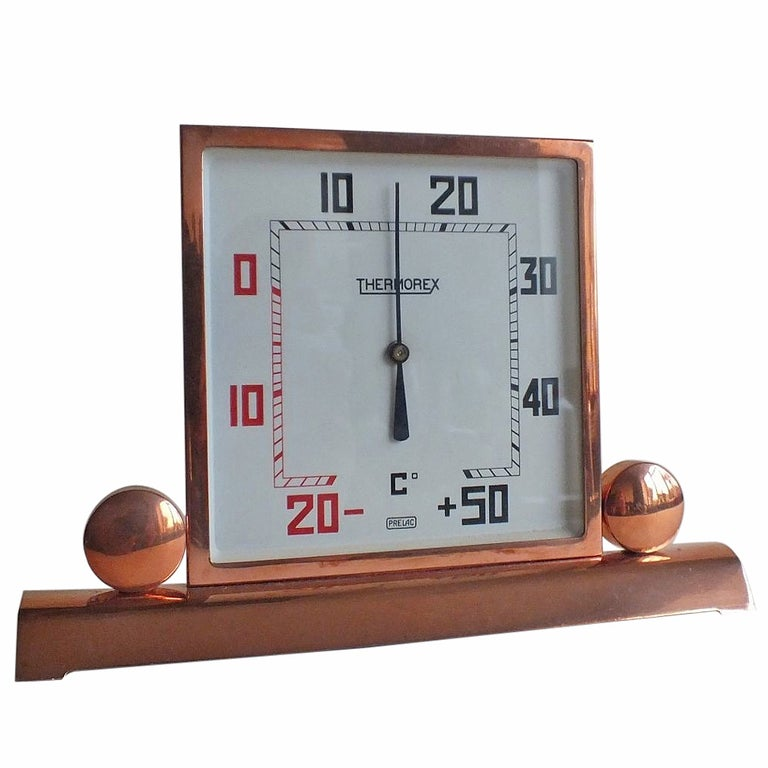 Art Deco Copper-Plated Square Thermometer, French For Sale