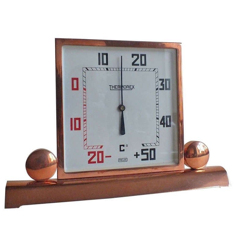 Metal Art Deco Copper-Plated Square Thermometer, French For Sale