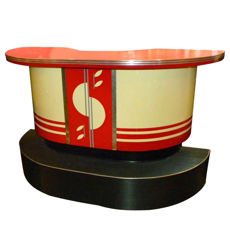Original Art Deco Streamline Modern Bar With Matching Stools At 1stdibs