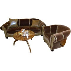Glamorous Art Deco Sofa and Chair Suite