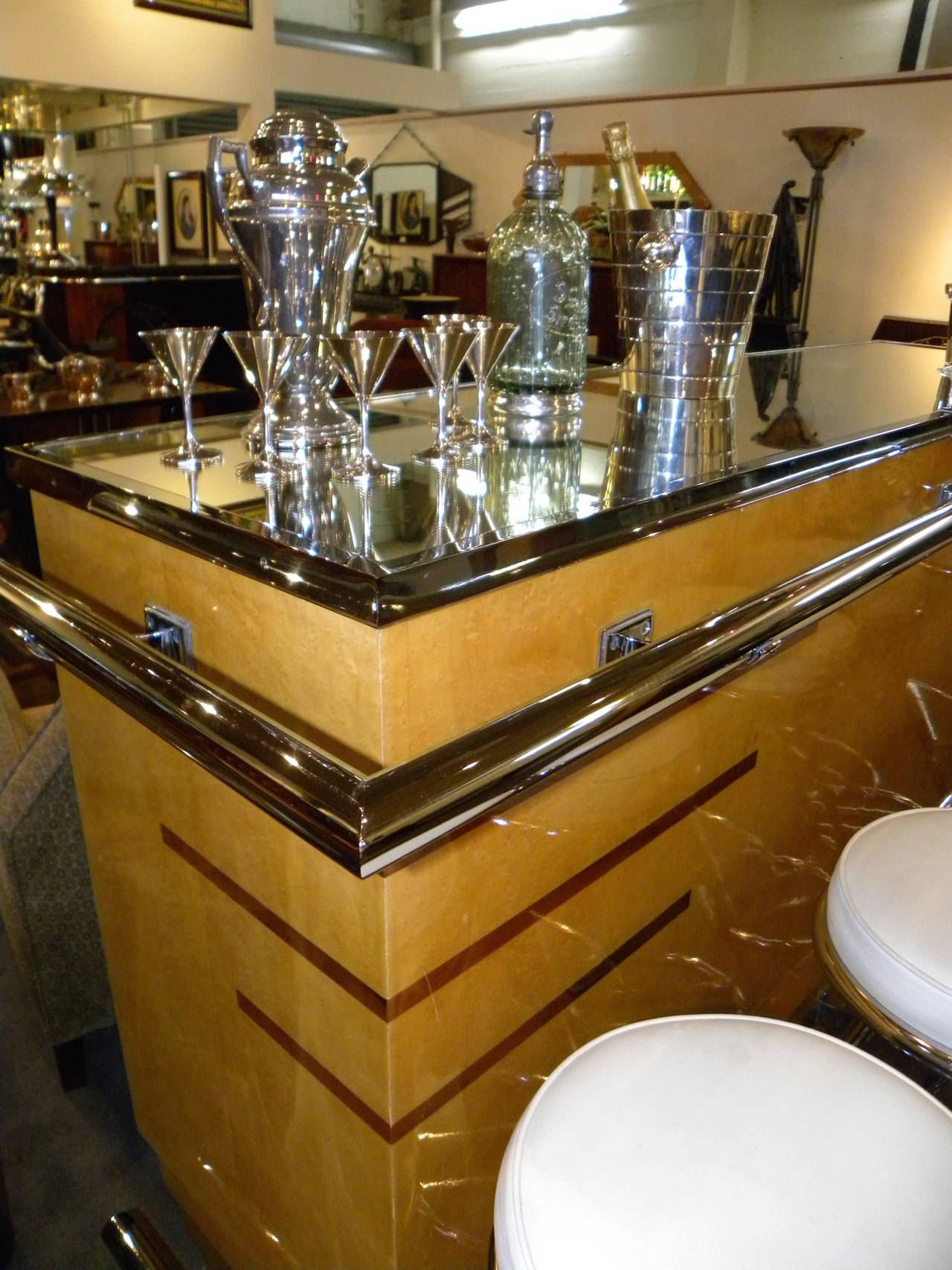 French Art Deco Glamour Bar And Bar Stools At 1stdibs