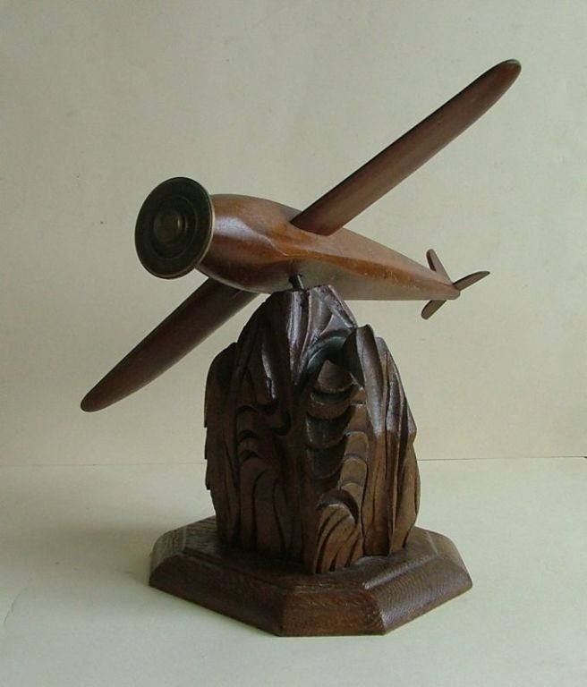 Metal Historic Vintage Wooden Model Art Deco Style Airplane For Sale