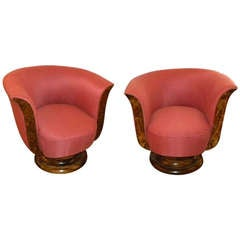 Moderne Art Deco Swivel Club Chairs