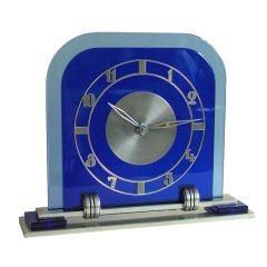 Outstanding Art Deco Blue Glass Jaeger-LeCoultre Clock