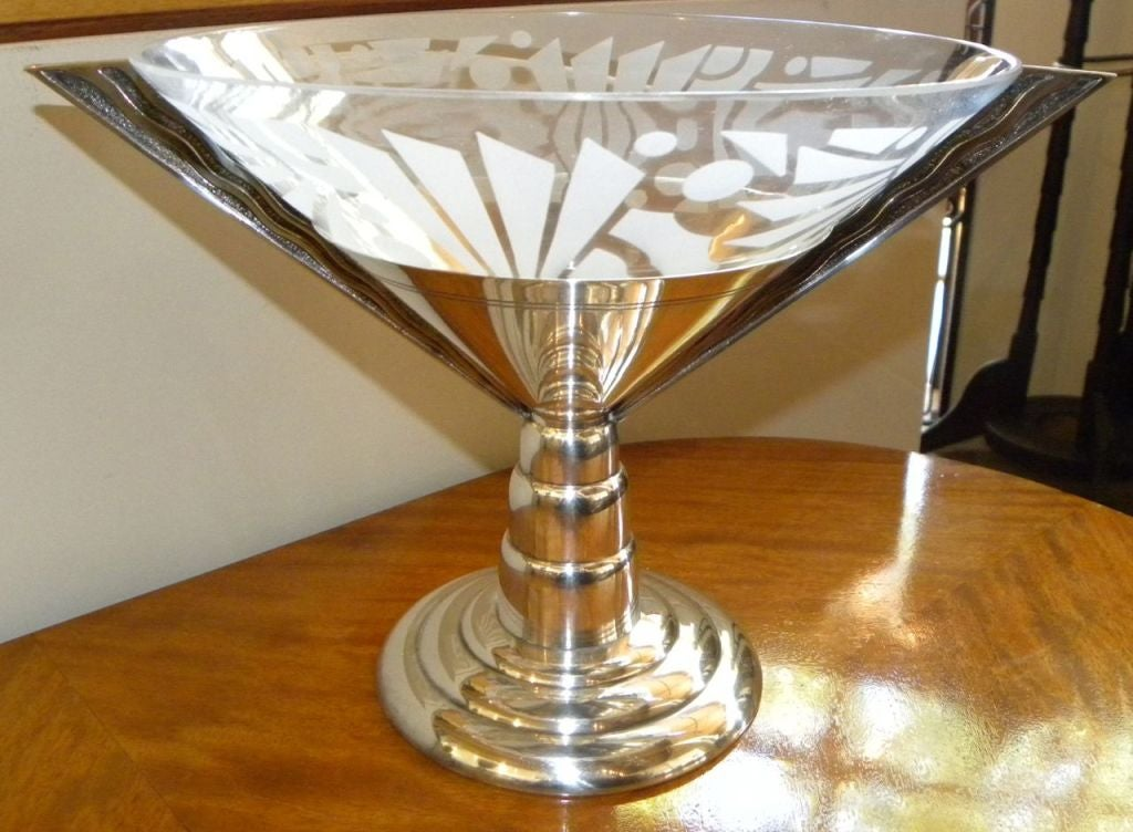 Original french stepped centerpiece silver plate with