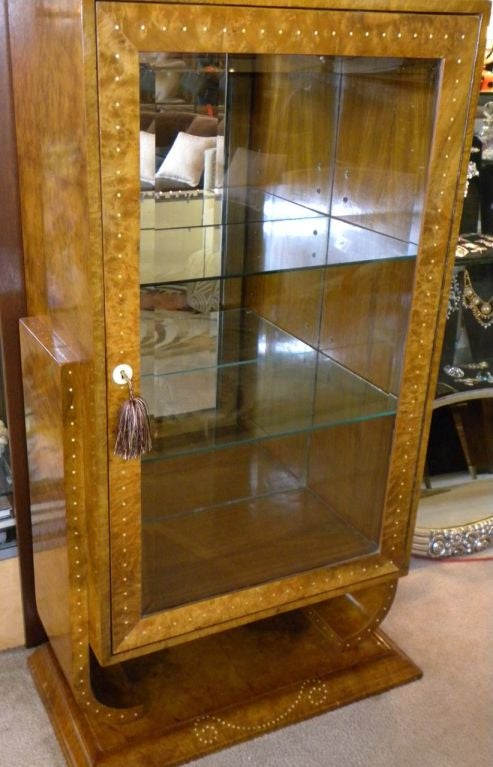 art deco display curio or bar cabinet in ruhlmann style for sale at 1stdibs