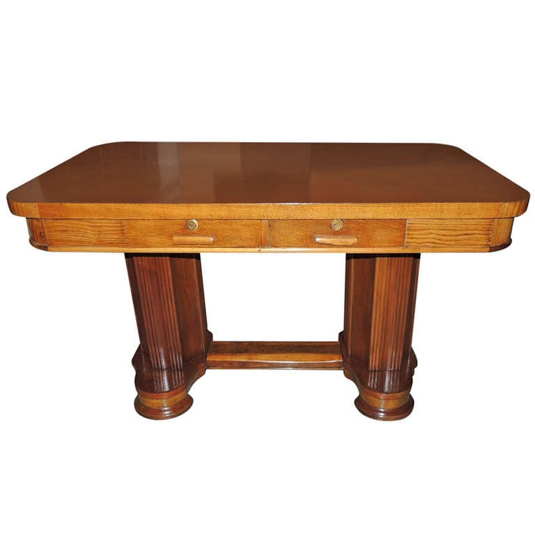 1940s Mission Style House Gets Brilliant Transformation In: Newly Restored Art Deco Oak Desk Library Table For Sale At