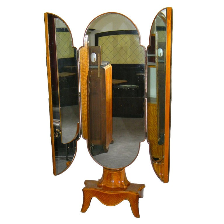 Unusual Tri Fold Stand Up Antique Mirror At 1stdibs