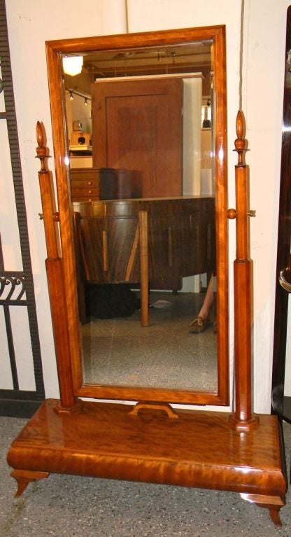 Wonderful Standing Art Deco Honduras Mahogany Wood Mirror