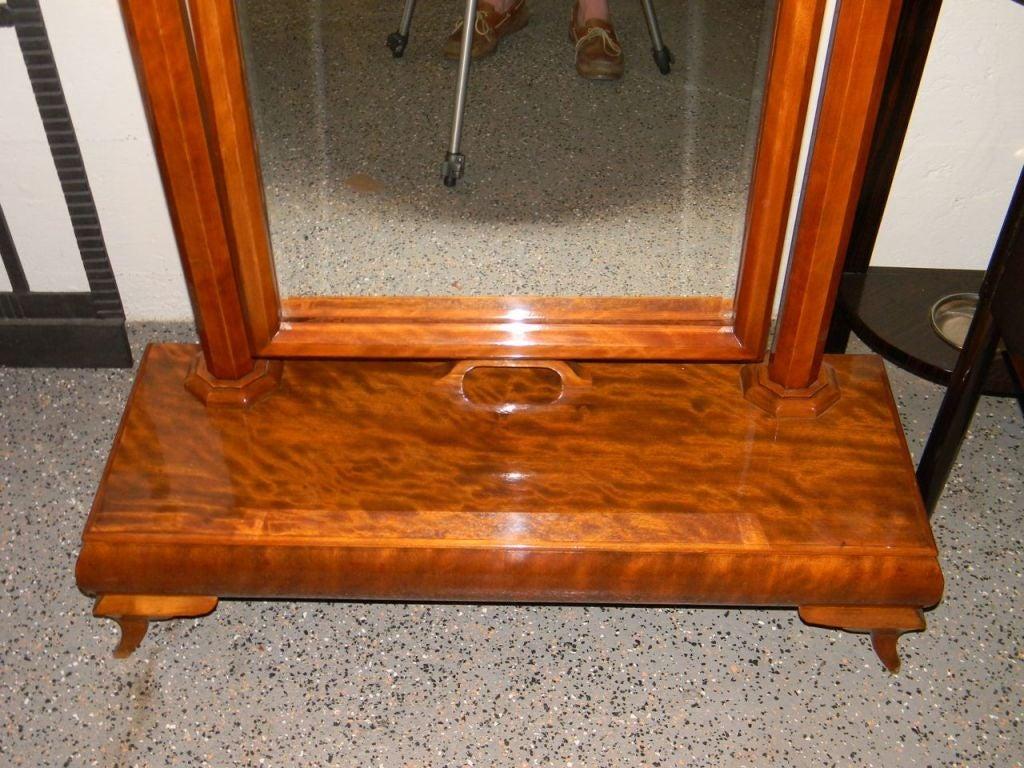 Wonderful Standing Art Deco Honduras Mahogany Wood Mirror 3