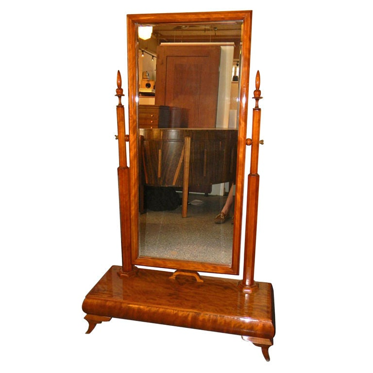Wonderful standing art deco honduras mahogany wood mirror for Antique standing mirror