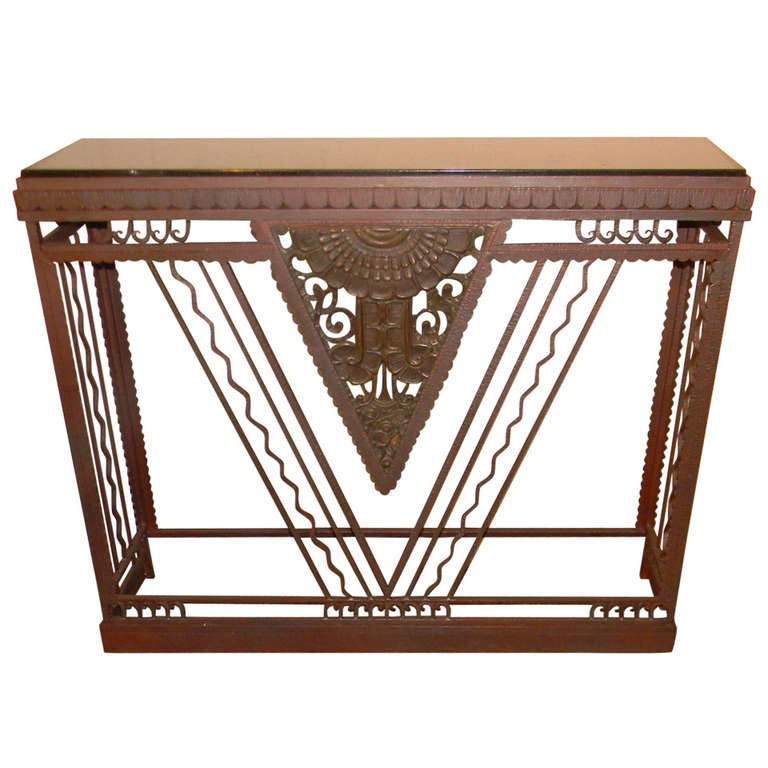 French Style Art Deco Metal Console Marble Top At 1stdibs