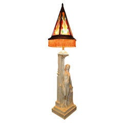 Teco Pottery Art Deco Statue Floor Lamp by Fritz Albert and Fernand Moreau