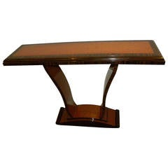 Two-Tone Art Deco Wood Console Table