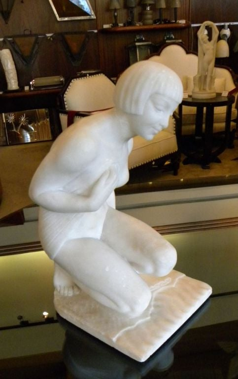 French Original Art Deco Nude in Marble by Joe Descomps For Sale