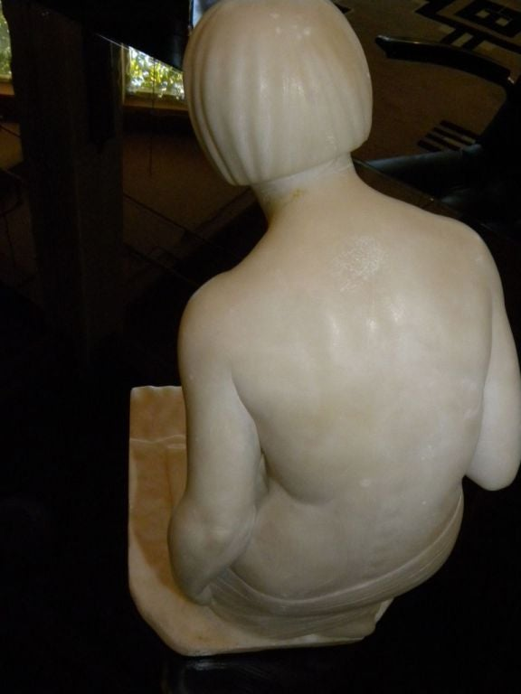 Original Art Deco Nude in Marble by Joe Descomps In Excellent Condition For Sale In Oakland, CA
