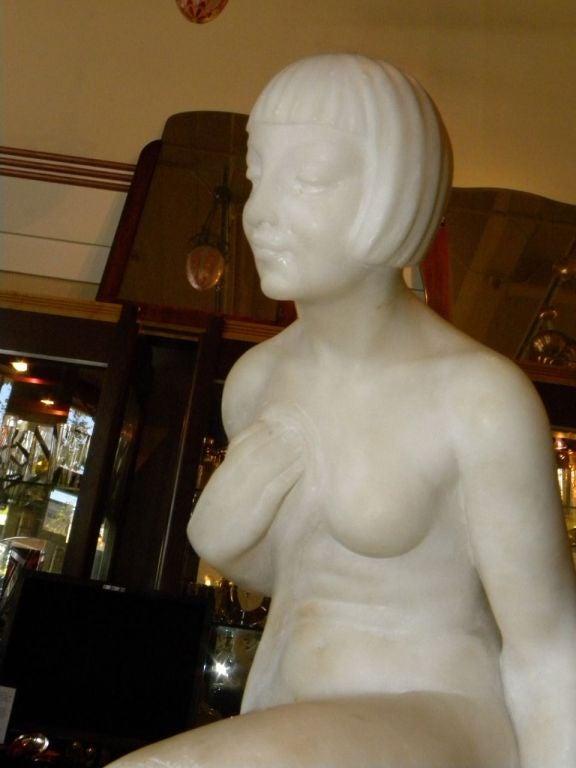 20th Century Original Art Deco Nude in Marble by Joe Descomps For Sale