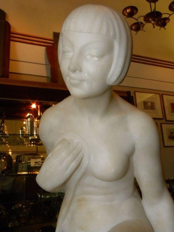 Original Art Deco Nude in Marble by Joe Descomps For Sale 1