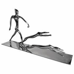 Art Deco Chrome Statue of Woman with Dogs