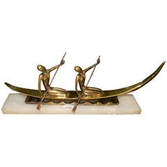 Art Deco Bronze Statue of Two Women on Boat