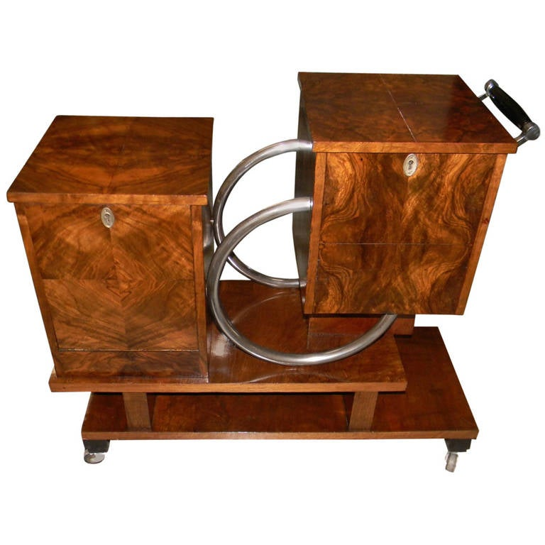 Unique Art Deco Rolling Bar Or Liquor Cart For