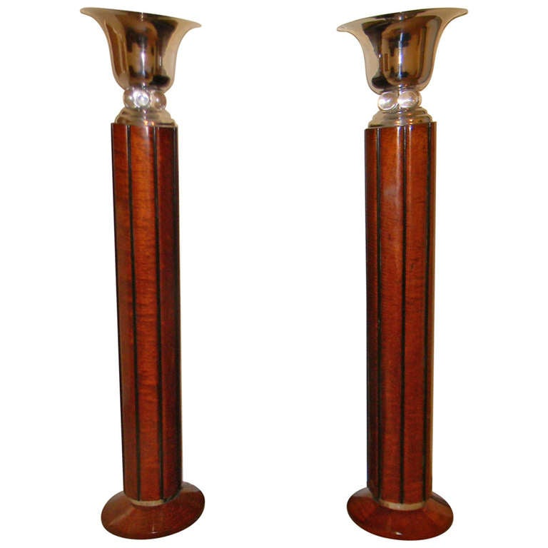 Spectacular Art Deco Floor Lamps Torchiers Two Tone Wood