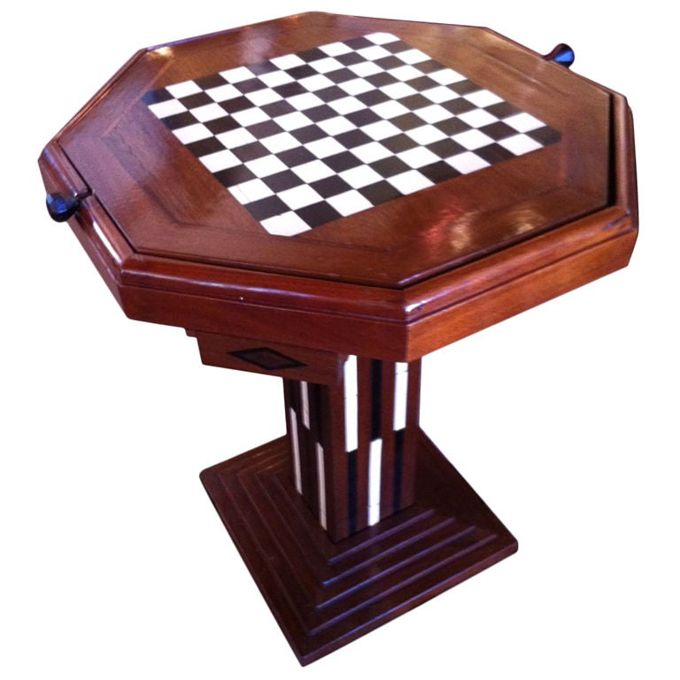Ordinaire Original Art Deco Game Table Chess Checkers Backgammon