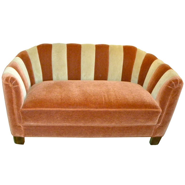 Channel Back Art Deco Sofa Restored At 1stdibs