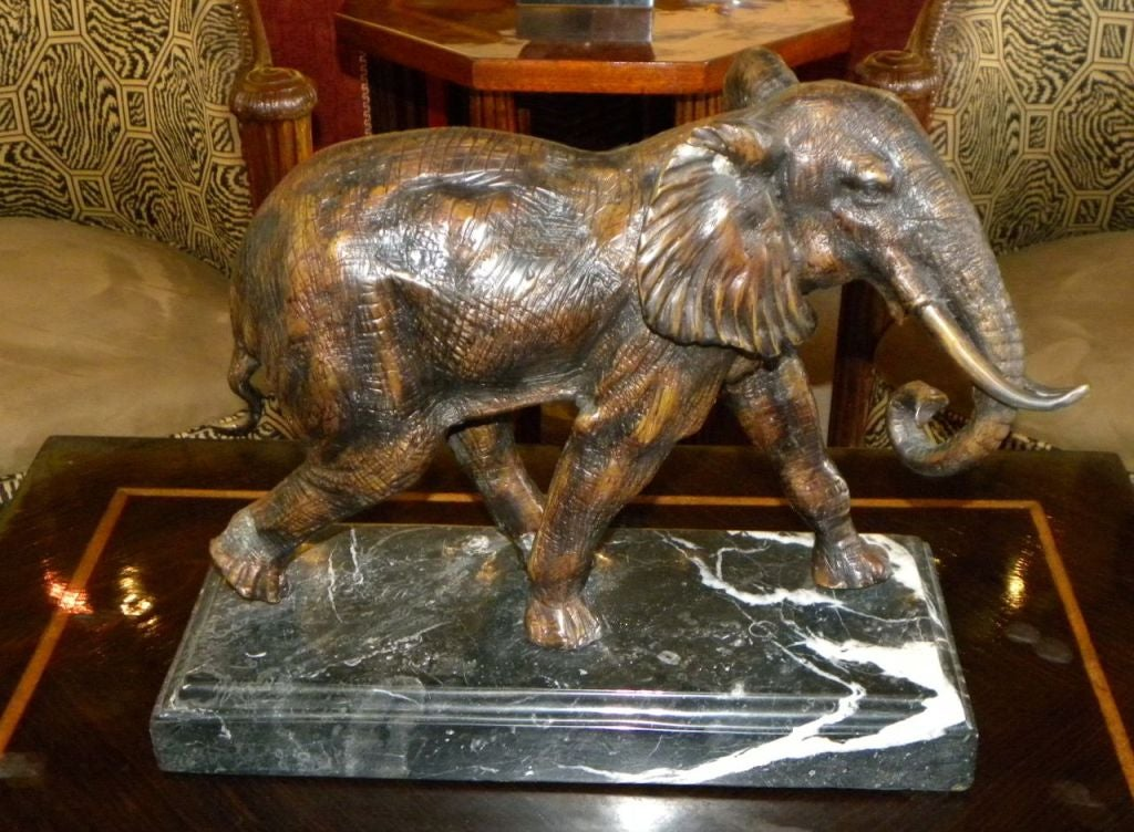 art deco french bronze out of africa elephant statue at 1stdibs. Black Bedroom Furniture Sets. Home Design Ideas