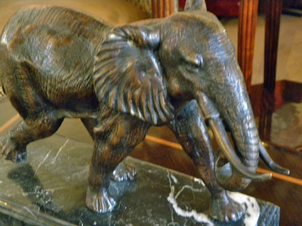 art deco french bronze out of africa elephant statue at. Black Bedroom Furniture Sets. Home Design Ideas