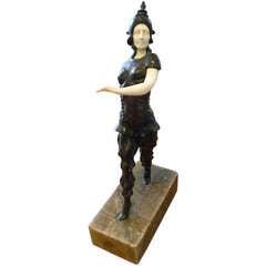 Ivorid  and Bronze Art Deco Statue Figurine of Russian Ballet Dancer