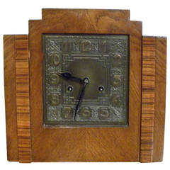 Stair-Stepped Wood Mechanical Art Deco Mantel Clock