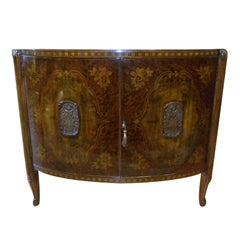 Early French Art Deco 1920s Exquisite Demilune Shaped Cabinet