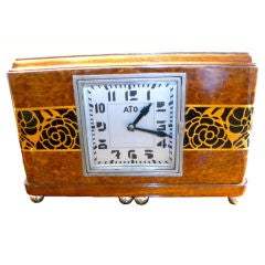 French original Art Deco ATO wooden clock with battery
