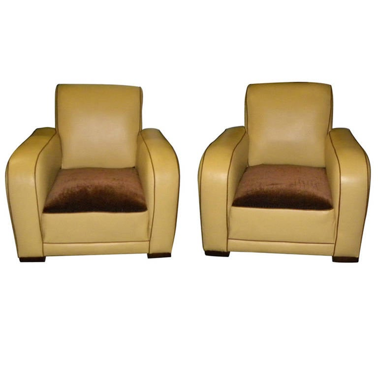 French Style Streamline Club Chairs Art Deco at 1stdibs