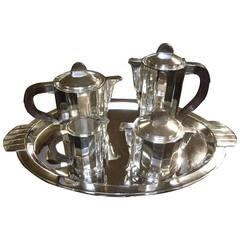 Barker Brothers English High Style Art Deco Silver Tea Set