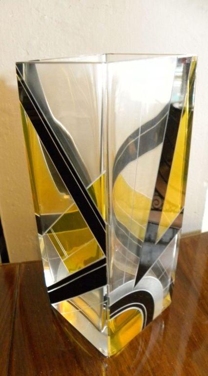 Modernist Two-Tone Czech Karl Palda Enamel Glass Vase 2