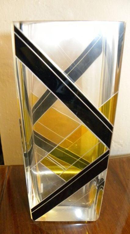 Modernist Two-Tone Czech Karl Palda Enamel Glass Vase 3