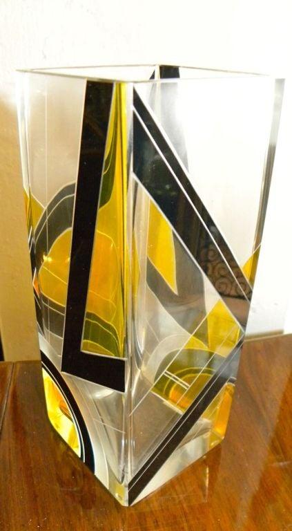 Modernist Two-Tone Czech Karl Palda Enamel Glass Vase 4