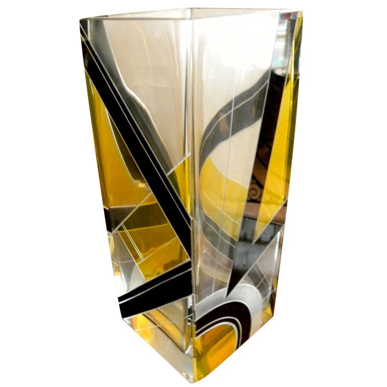 Modernist Two-Tone Czech Karl Palda Enamel Glass Vase 1