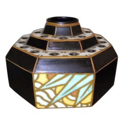 Charles Catteau Octagon Stepped Art Deco Vase