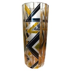 Tall Faceted Black  and Yellow Palda Vase