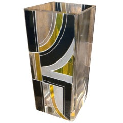 Black and Yellow Square Czechoslovakian Vase