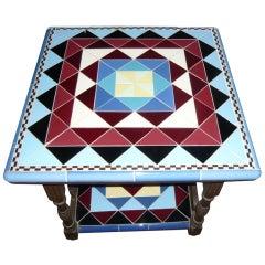 Original Art Deco Geometric Tile Table