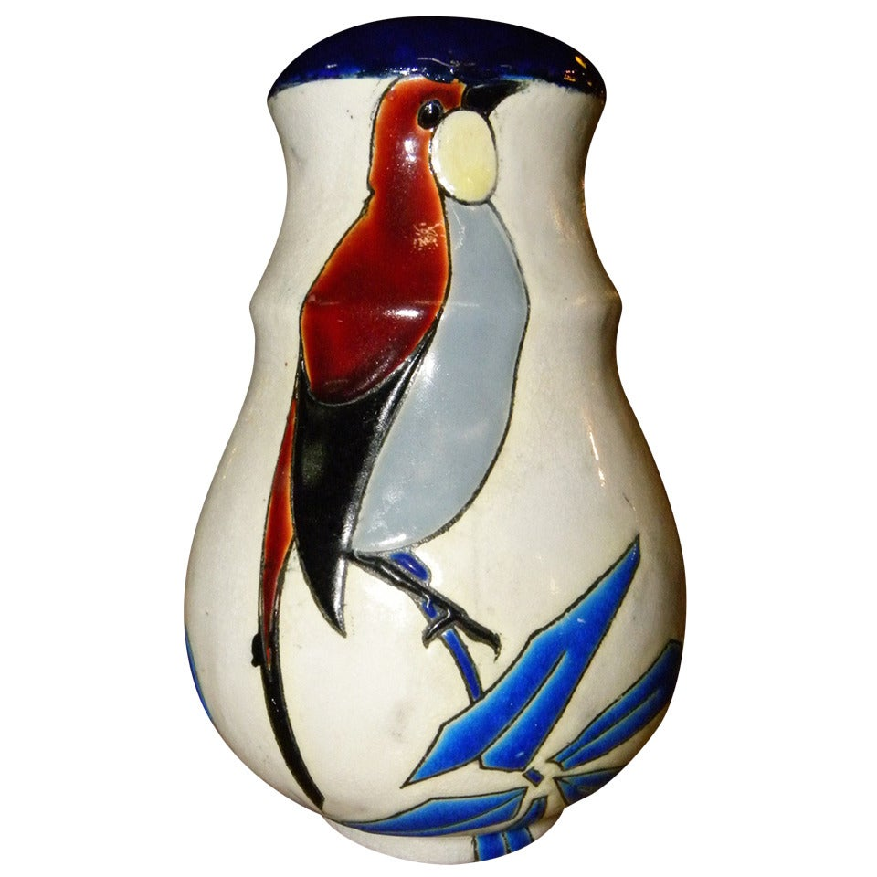 Catteau Era Ceramic Art Deco Vase with Bird