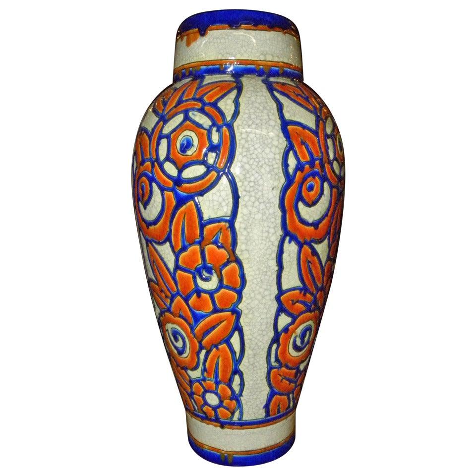 Catteau Era Ceramic Art Deco Vase with Flower Motif