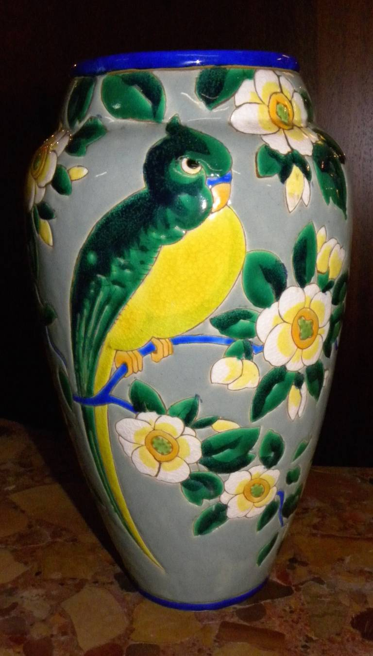 Boch ceramic cloisonné vase with decorative bird. Designed and made during the great period of Charles Catteau. This large vase is very collectible and represents one of great Art Deco periods of design direction. Animals on decorative items at