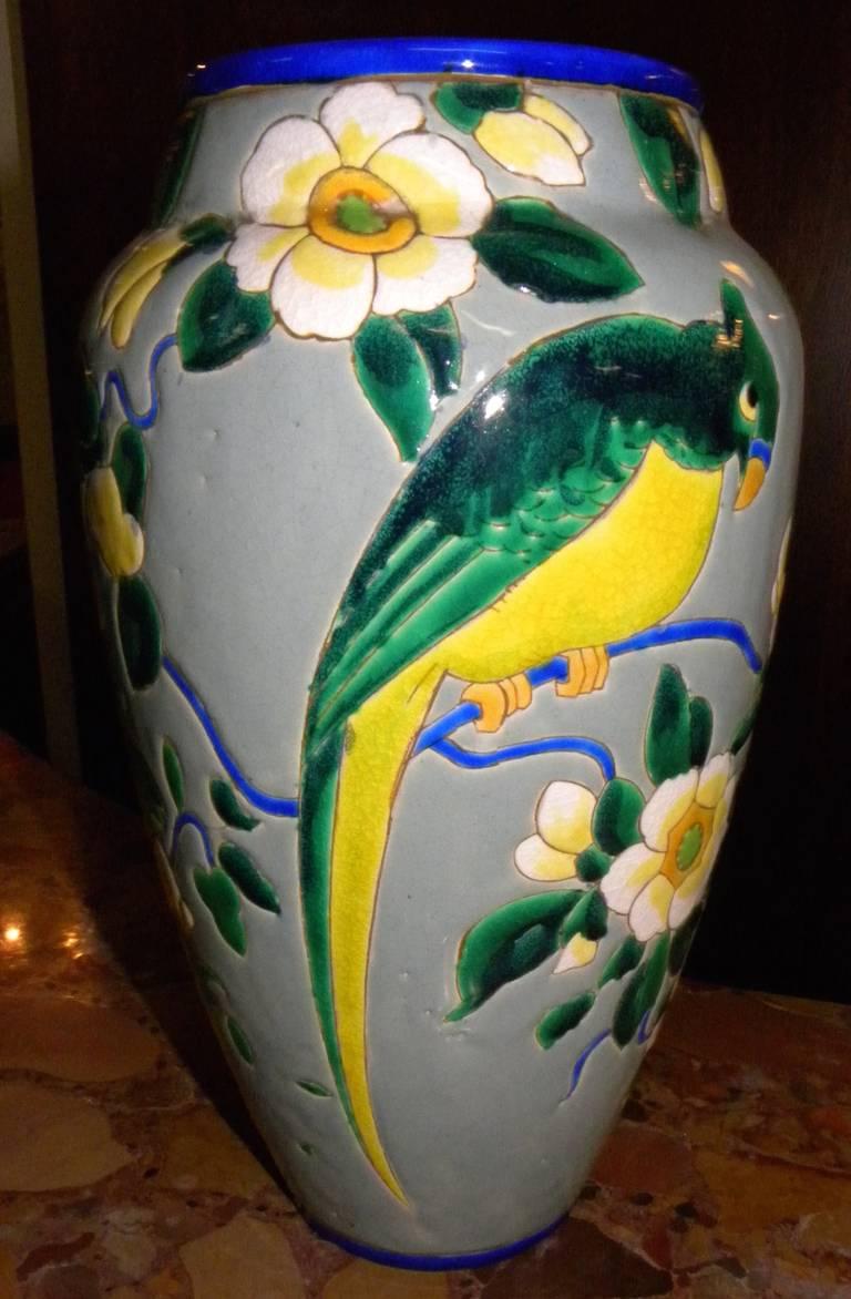 Art Deco Boch Catteau Era Ceramic Vase with Bird For Sale